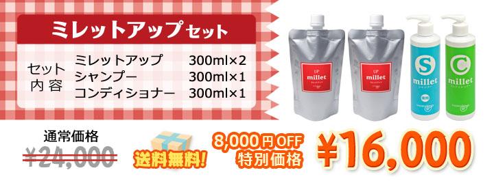 白髪ケアのための成分を凝縮!ミレットアップ2本にシャンプー&コンディショナーがついて8000円オフ送料無料!